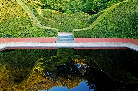 Reflecting pool at Veddw. Copyright Charles Hawes, Monmouthshire, South Wales garden, Copyright Charles Hawes Thinkingardens, think gardens, Veddw House Garden, The Fedw, Devauden, Monmouthshire, South Wales, Most original garden in Britain, Anne Wareham, The Bad Tempered Gardener and Charles Hawes, photographer, gardens to visit uk, gardens south west, best gardens uk, uk gardens to visit,